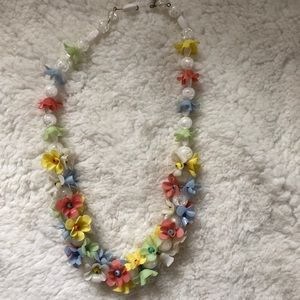 Vintage glass floral beaded pastel necklace